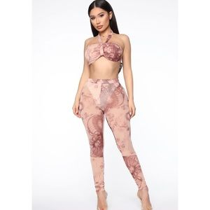 Queen Dragon Pant Set - Nude/combo